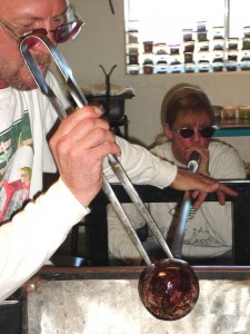Karen and Dana Robbins hard at work creating their beautiful hand blown art glass