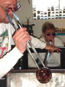 Karen and Dana Robbins hard at work creating their beautiful hand blown art glass