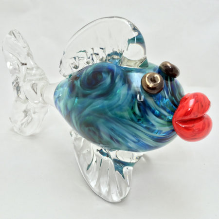 blown glass kissing fish