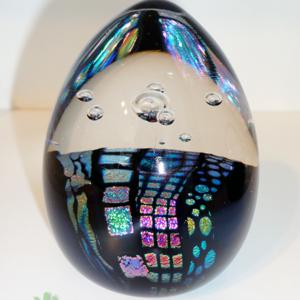 Dichroic Egg – Black w/Patterns