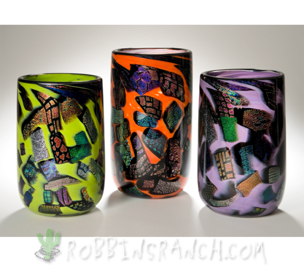 Dichroic cylinder vases
