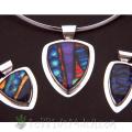dichroic glass shield pendants